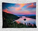 Ambesonne Lake Tahoe Tapestry, California Photography Rustic Themes Sundown Time Freshwater Sierra Nevada Lake, Wall Hanging for Bedroom Living Room Dorm, 80 W X 60 L inches, Multicolor