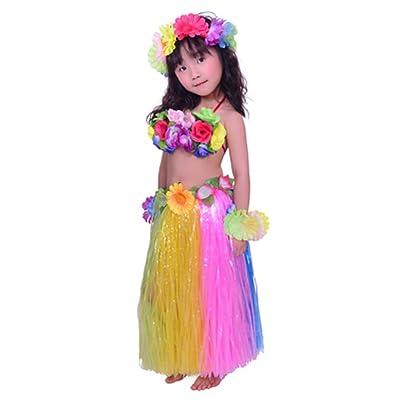 "Fighting to Achieve Child Hula Costumes Hawaiian Rainbow Outfits 7pcs/23.6"": Clothing"