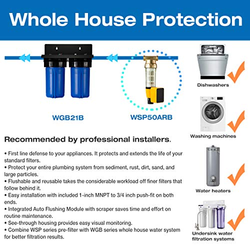 iSpring WGB21B 2-Stage Whole House Water Filtration System, 4.5X10 Big Blue, 1 Ports, 1-Set Filter Cartridge Included