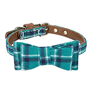 StrawberryEC Extra Small Dog and Cat Collar with Cute Plaid Bowtie. Adjustable 5 Holes to Also Fit Puppy and Kitten. Quality PU Leather and Durable Polyester 22