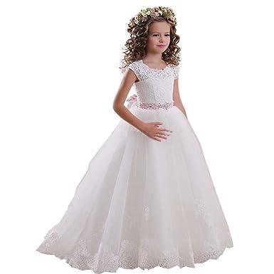 KekeHouse Manga Corta Vestido de niña de Las Flores de Tul Vestido de Encaje de cumpleaños Vestido de Primera comunión