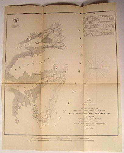 Mississippi River Delta Louisiana Blind Bay 1851 U.S.C.S. Nautical chart old map