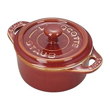 Staub 40511-877 Ceramics Mini Round Cocotte Set, 3-piece, Rustic Red