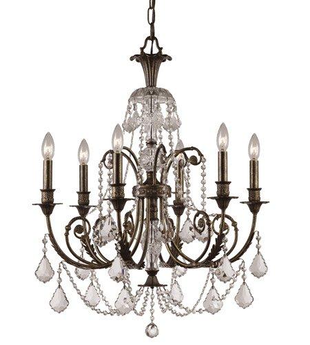 - Chandeliers 6 Light With English Bronze Clear Swarovski Strass Wrought Iron 26 inch 360 Watts - World of Lighting