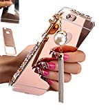 5c cases with gems - [1-Pack][2-IN-1]iPhone 5C Case, AMASELL Luxury Bling 3D Sparkle Diamond Mirror case+Aluminum Metal Frame Bumper With Pearl Tassels Hard PC Back Cover Case, Rose Gold with bling