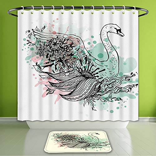 - Waterproof Shower Curtain and Bath Rug Set Animal Hand Sketch Swan Bird Floral Details and Color Splashes Watercolors Mint Green Light Pin Bath Curtain and Doormat Suit for Bathroom 66