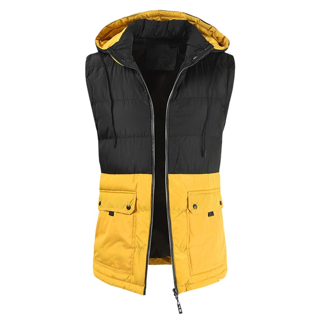 VZEXA Mens Jacket Autumn Winter Sleeveless Hooded Drawstring Color Block Outwear Yellow by VZEXA
