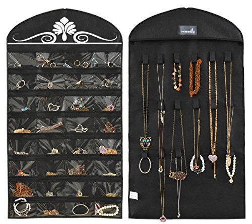 Misslo Jewelry Hanging Non-Woven Organizer Holder 32 Pockets 18 Hook and Loops - Black]()