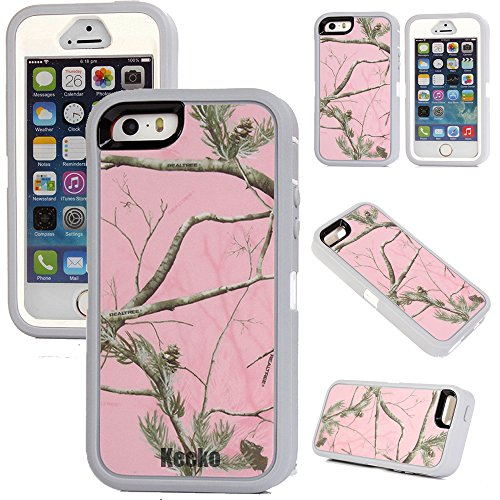 Kecko(TM) For iphone 5/5s Case Defender Military Tough Armor Tree Camo Shockproof High Impact Hybrid Hunting Tree Case Covers With Built-in Screen Protector--Camo Tree On The Core (Pink Tree Camo)