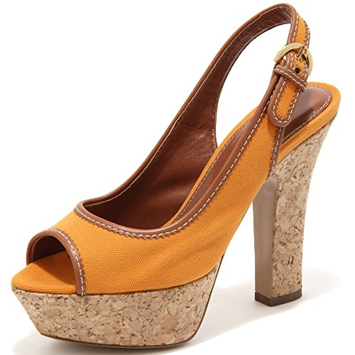 58385 sandalo decollete SERGIO ROSSI scarpa donna shoes women cuoio/arancione