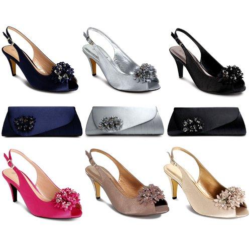 SAPPHIRE BOUTIQUE Zapatos De Vestir Mujer Floreado Cuentas Tacón Bajo Punta Abierta A Juego Cn Bolso Clutch Negro (zapato)
