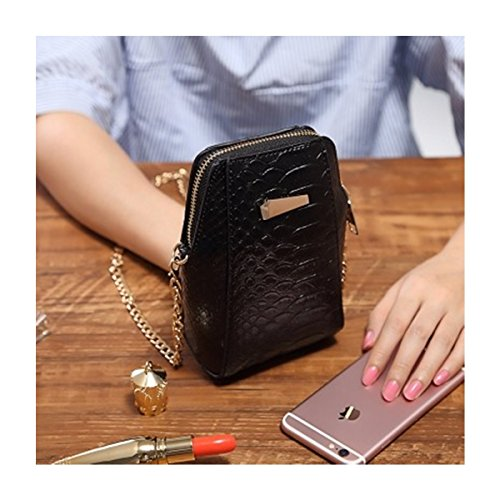 Women Crossbody Bag, Charminer Lightweight Multi Color PU Leather Vertical Metal Chain Shoulder Phone Bag For 6.0 Inches Smartphone Black (Vertical Shoulder Bag Leather)