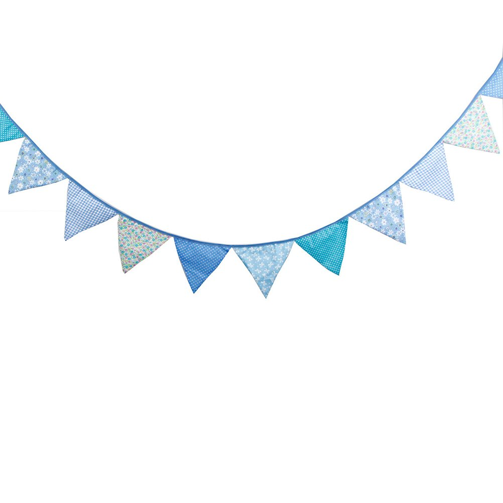OULII Triangle Garland Banner Party Flags for Birthday Wedding Suppliers Decoration Blue
