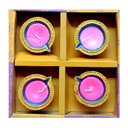 Traditional Multicoloured Diwali Diya with Wax & Glitter (Pack of 4) - ED86502 Eazydeal