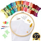 Arts & Crafts : SUBANG Full Set of Embroidery Starter Kit Cross Stitch Tool Kit Including 10 Inch Bamboo Embroidery Hoop, 50 Vivid Color Threads, 2 Pcs 12 by 18-Inch 14 Count Classic Reserve Aida and Tool Kit