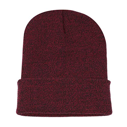 (THE HAT DEPOT 1800F902 Made in USA Unisex Two Tone Cuff Beanie Skull Cap (Burgundy-Black))