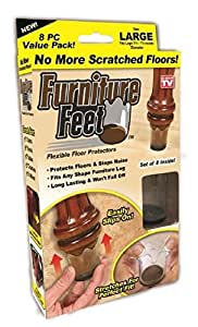 8 Original Furniture Feet Floor Protector Pads by chéri d'amour – Universal Stool Table Leg Caps for Wood Stone and Marble Protection, Chair Leg Coaster Glides for Restaurant Kitchen Dining Bedroom