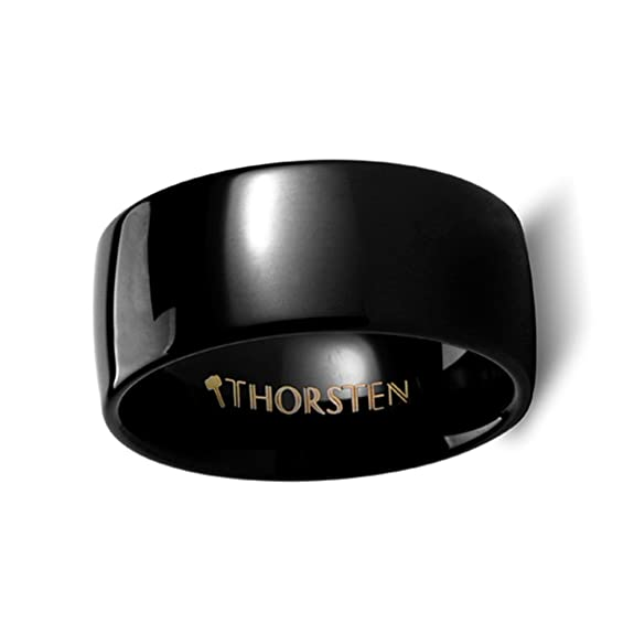 Thorsten Raven Rounded Domed Polished Black Tungsten Ring 10mm Wide Wedding Band from Roy Rose Jewelry