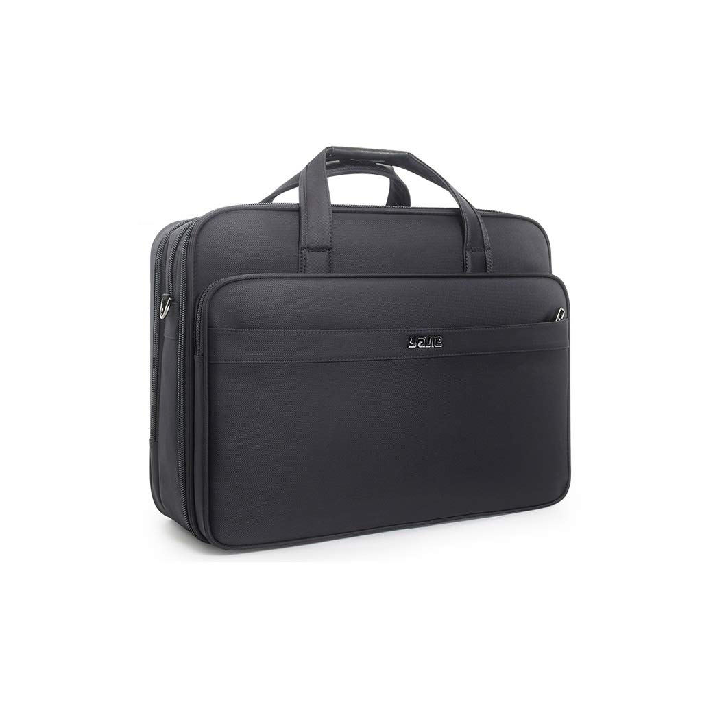 QSJY File Cabinets Business Document Bag, Oxford Cloth Durable Briefcase, Document Laptop Travel Bag 49×36×(20-24) cm (Color : Black, Size : 3247XL-49×36×(20-24) cm) by QSJY File Cabinets