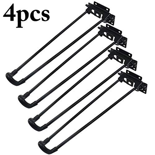 Table Leg, Outgeek 4Pcs Hairpin Table Leg Heavy Duty Easy Install Folding Coffee Table Leg(Included 24pcs Screw) (13.58 in) -