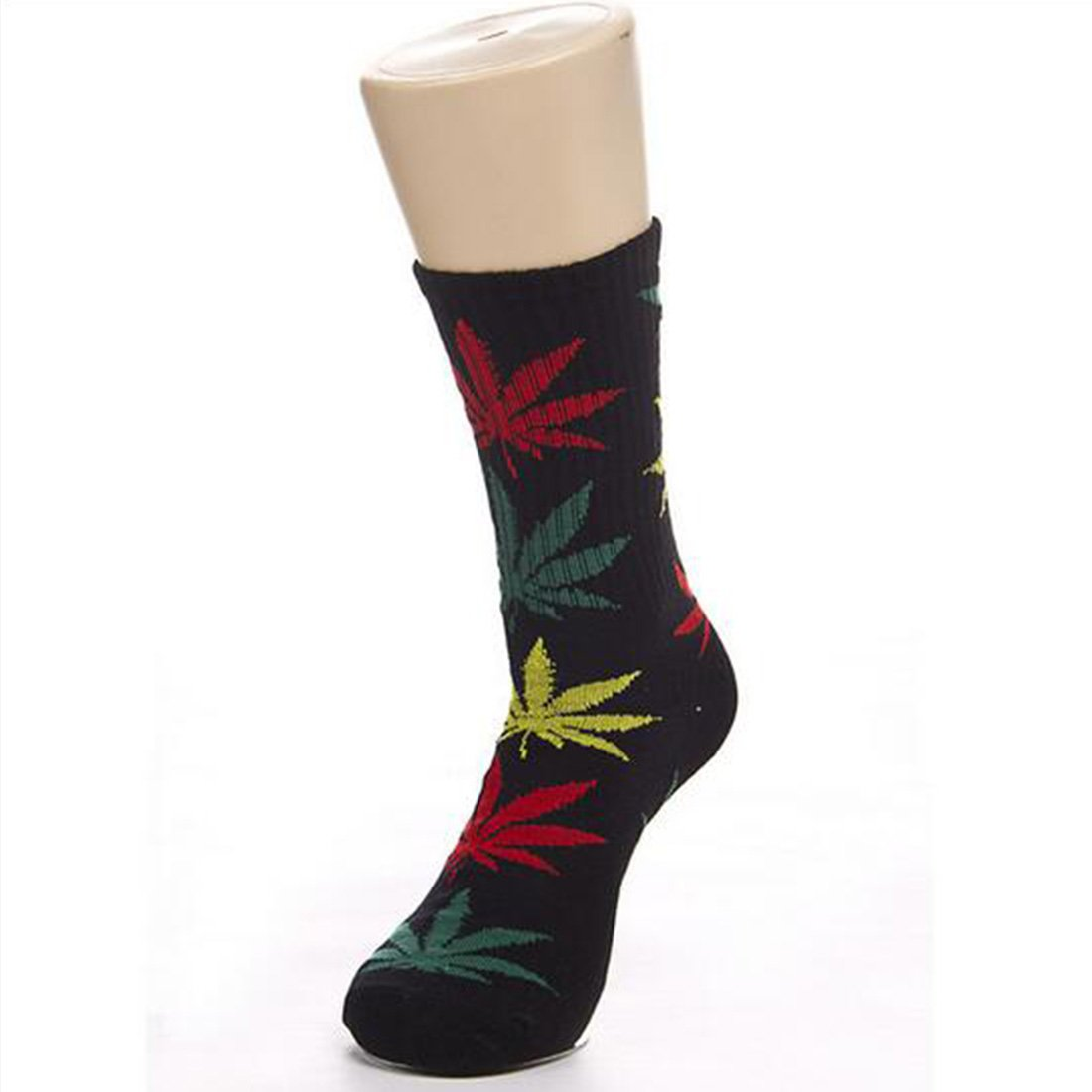 Amazon.com: Leaves Socks Medium Thick Outdoor Sports Weeds Socks Black+Green: Clothing