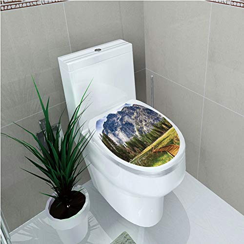 Valley Oak Decor Kit - Toilet Applique,Yosemite,North Dome as Seen from The Valley with Wooden Walkway Yosemite National Park,Green Charcoal,Custom Sticker,W11.8