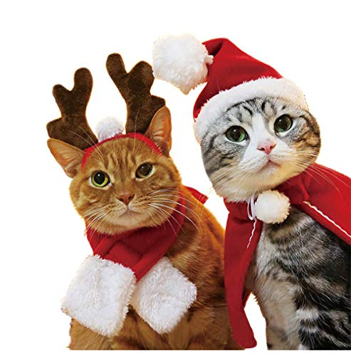 Cywulin Christmas Pet Santa Hat and Scarf Set, Xmas Holiday Cloak, Reindeer Antlers Hat Accessories for Small Puppy Dog Cat (Hat and Scarf Set, Small) -