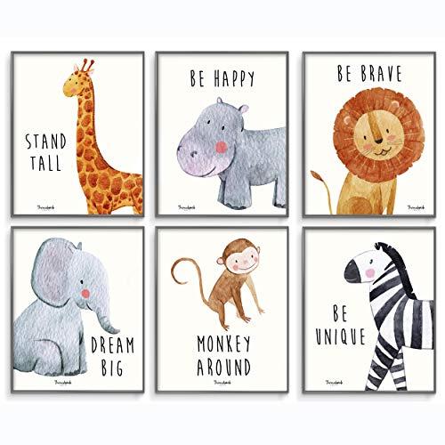 Safari Baby Animals, Baby Nursery Decor, Baby Room Decor, Playroom Wall Art Decor Prints, Boys & Girls Room, Kids Bedroom Inspirational Quotes, Motivational Art, Inspirational Art. Set of 6 8x10in.
