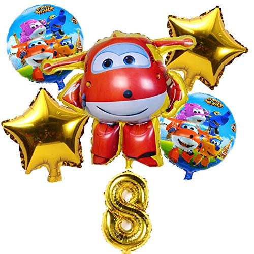 ZJWDM 6Pcs 3D Wings Balloon Jett Globos Super Wings Toys ...