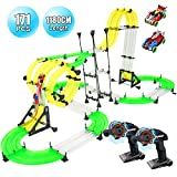 RC Car Race Track Set, Elec3 Racing Track Car Toys, 1180cm DIY Double Rail Car Race Track Set, 2 Cars, 2 Hand-Operated Controllers, 3D Super Track Car Playset for Birthday Party Festival Gift