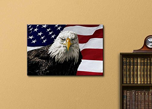 Majestic Bald Eagle Against a Photo of an American Flag Patriotic Style Wall Decor