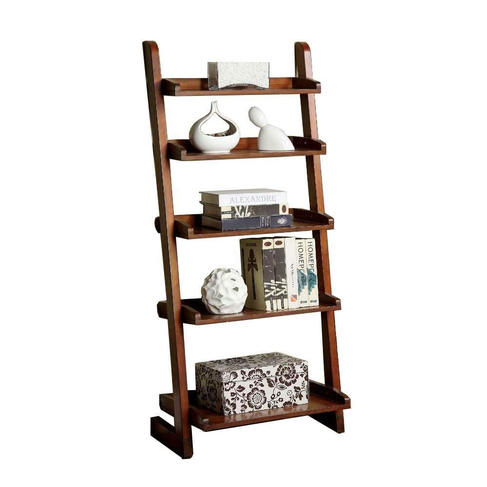 Furniture of America Lugo Ladder Display Shelf, 5, Brown