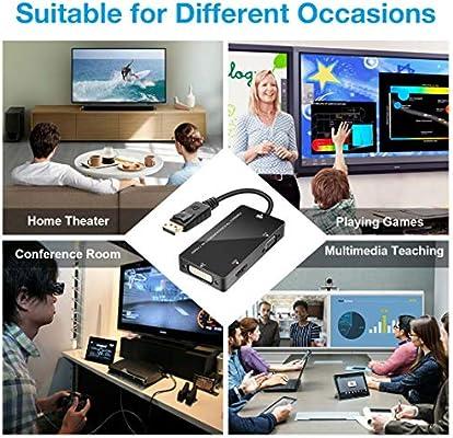 Ruipoo DisplayPort to HDMI DVI VGA 4K Adaptador Convertidor de Cable Multifuncional para computadora HDTV Laptop Computadora MacBook Mac Air