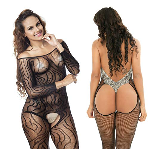 92084e45f60 LOVELYBOBO 2 Pack Womens Plus Size Fishnet Bodystockings Striped Lingerie  Crotchless Bodysuits Tights Suspenders