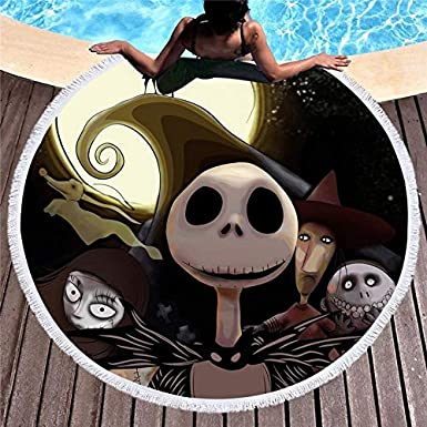 Amazon.com: CHITOP Round Beach Towel Summer Large Towel for Adult Kid Yoga mat Tassel toalla Blanket Nightmare Before Christmas Bath Towel: Cell Phones & ...