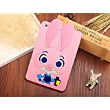 iPad Mini Case,Phenix-Color 3D Cute Soft Silicone [Drop Proof,Shock Proof,Anti Slip] Cartoon Gel Rubber Back Cover Case for iPad Mini 1 2 3 (Judy pink)