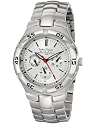 Nautica Mens N10074 Silver-Tone Stainless Steel Watch with Link Bracelet