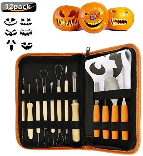 Halloween Pumpkin Carving Sets, Botee 12Pcs Stainless Steel Pumpkin Carving Kits - Pumpkin Halloween Manual Carving Tools with Zipper Bag Engraving Paper Crafts