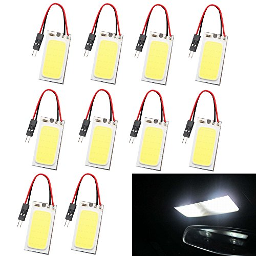 GrandviewTM 10PCS White COB 18SMD LED Panel Dome Light Auto Car Interior Reading Plate Light Roof Ceiling Interior Wired Lamp + T10 Adapter + BA9S Adapter + Festoon Adapter DC12V (40mmx20mm)