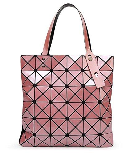 Kayers Sulliva Womens Fashion Geometric Plaid Tote Bag Glossy PU Leather Shoulder Bag Top-handle Handbags (Light Pink)