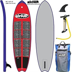 """airSUP 9'6""""x30""""x4"""" Inflatable SUP 15psi Stand Up Paddleboard, Roll It up and Store in the Bag! RED by airSUP"""