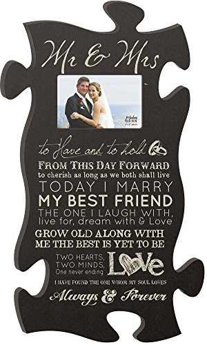 P. GRAHAM DUNN Mr & Mrs Always & Forever 4x6 Photo Frame 22 x 13 Wood Wall Art Puzzle Piece Plaque Frame ()