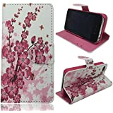 iphone 4 Case,iphone 4S Case, Welity New Flower Card Slot PU Wallet Leather Cover Case for Apple iPhone 4/4S/4G and one gift