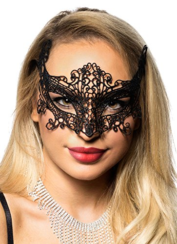 Black Cat Masquerade Mask (Black Lace Cat Eyes Masquerade Mask by Elevate Costumes)