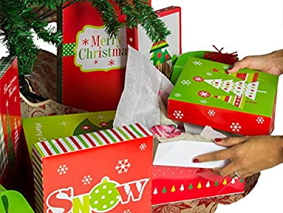 Christmas Gift Box Set - Kit Contains Gift Boxes, Gift Tags, Tissue Paper - Everything Needed To Wrap Presents