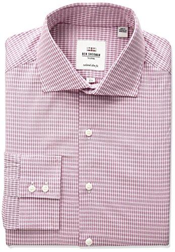 ben-sherman-mens-dobby-check-spread-collar-dress-shirt-pink-fuchsia-17-neck-34-35-sleeve