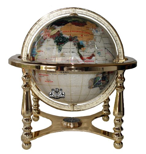 Gemstone Map - Unique Art 21-Inch Tall Pearl Ocean Table Top Gemstone World Globe with 4 Leg Gold Stand