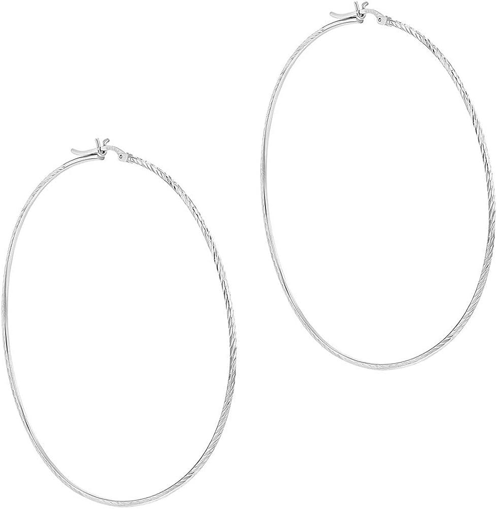 925 Sterling Silver Latch Back Classic Women Stripe Print Hoop Earrings