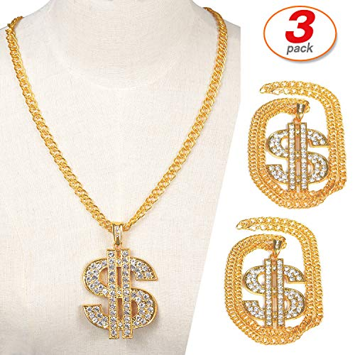 (Yo-fobu 3 Pack Hip Hop Chain Necklace Rapper Gold Costume Necklace Jewelry Rapper Necklace for Club Rock Party, Long 27.5 inches, Wide)