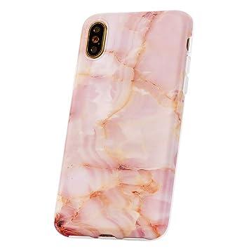 QULT Carcasa para Móvil Compatible con iPhone XR Funda marmol Rosa Silicona Flexible Bumper Teléfono Caso para iPhone XR Marble Pink